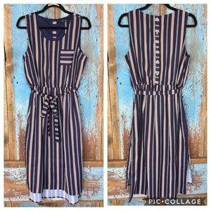 Doe & Rae Dresses - Doe & Rae Navy Striped High Low Dress